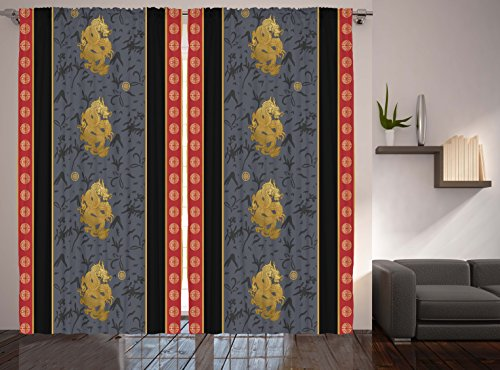 Asian Decor Curtains By Ambesonne Chinese Dragon Bedroom